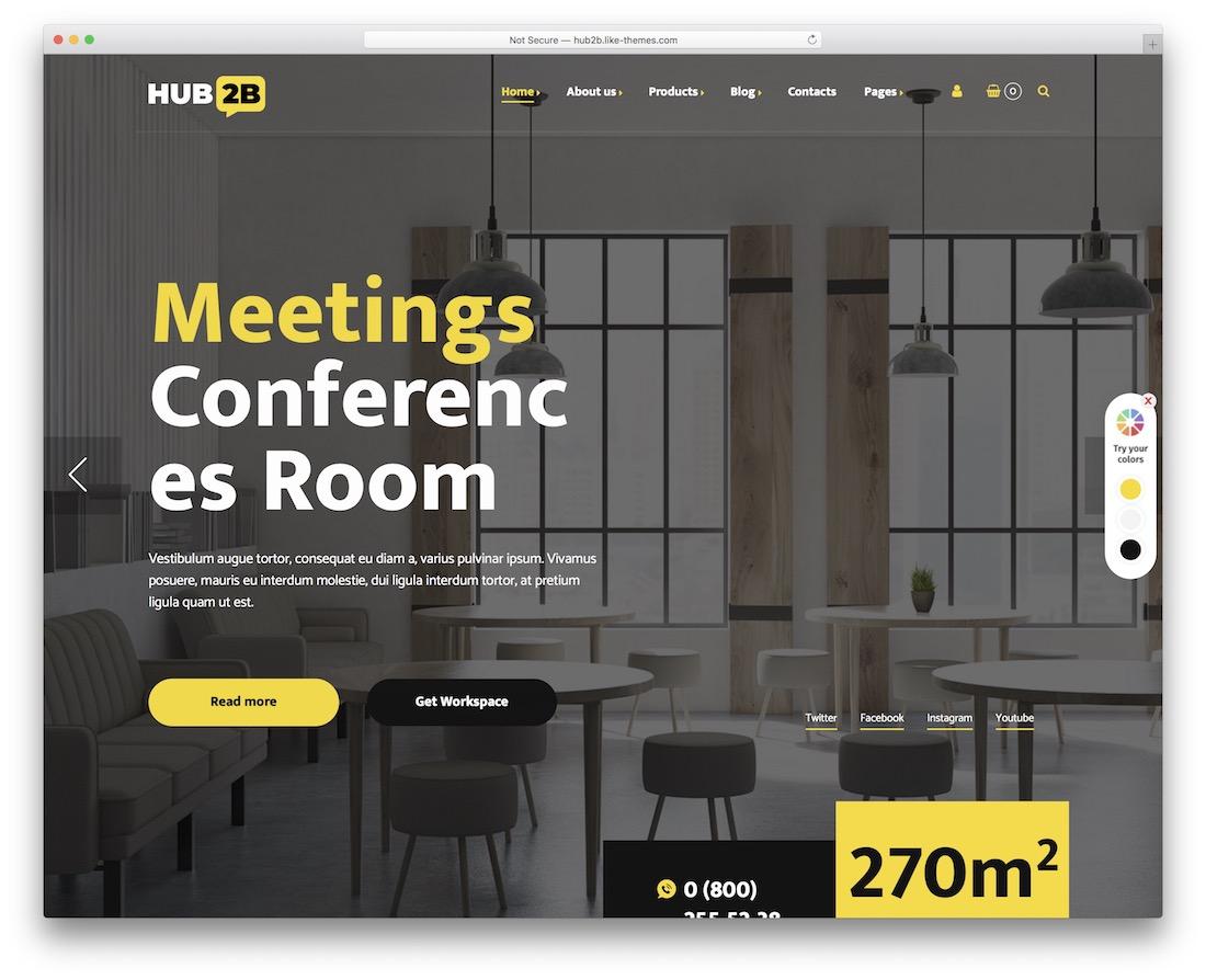thème wordpress de coworking hub2b