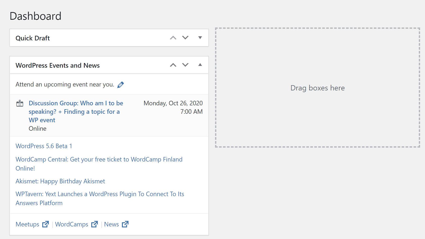 Écran d'administration du tableau de bord WordPress avec support de boîte méta visible.