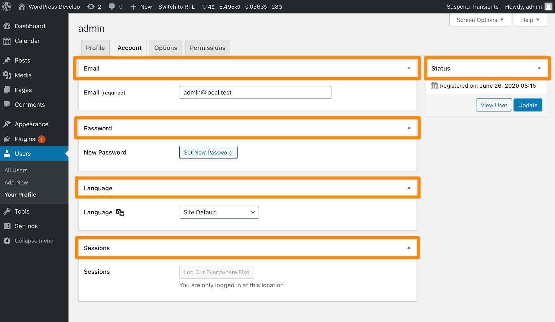 Boîtes méta de l'écran d'administration personnalisé de WP User Profiles.