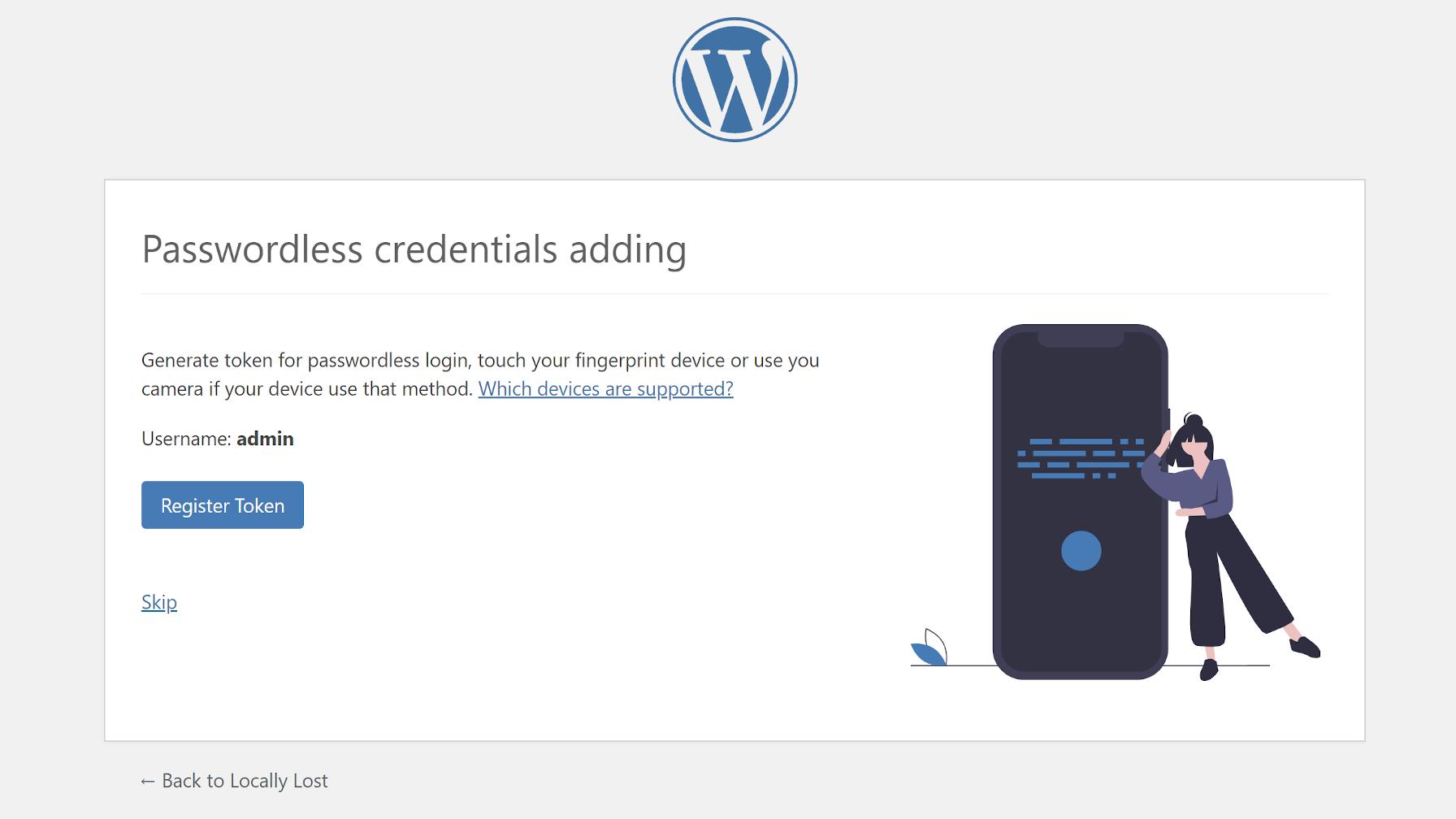 Enregistrement d'un jeton pour un compte utilisateur via le plugin Passwordless WP.