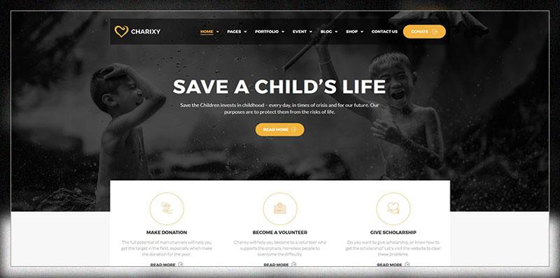 Charixy - Thème WordPress de charité / collecte de fonds    WordPress de charité