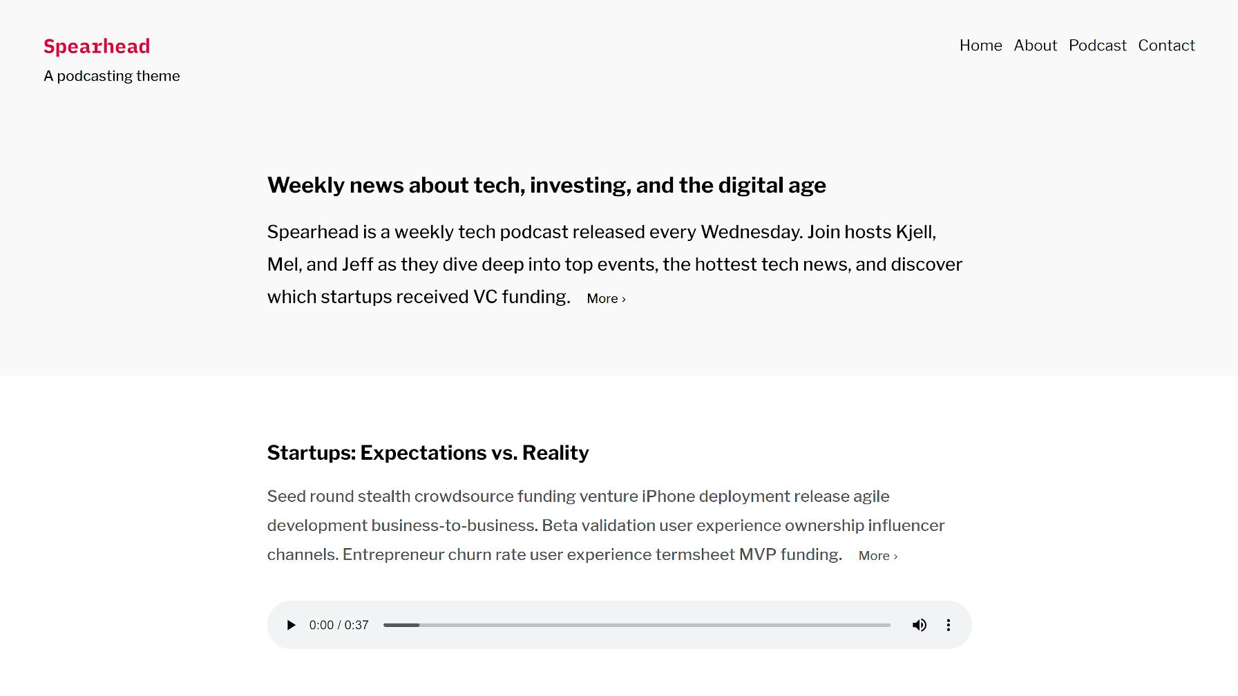 Sortie du contenu de la page d'accueil / articles du thème WordPress Spearhead.