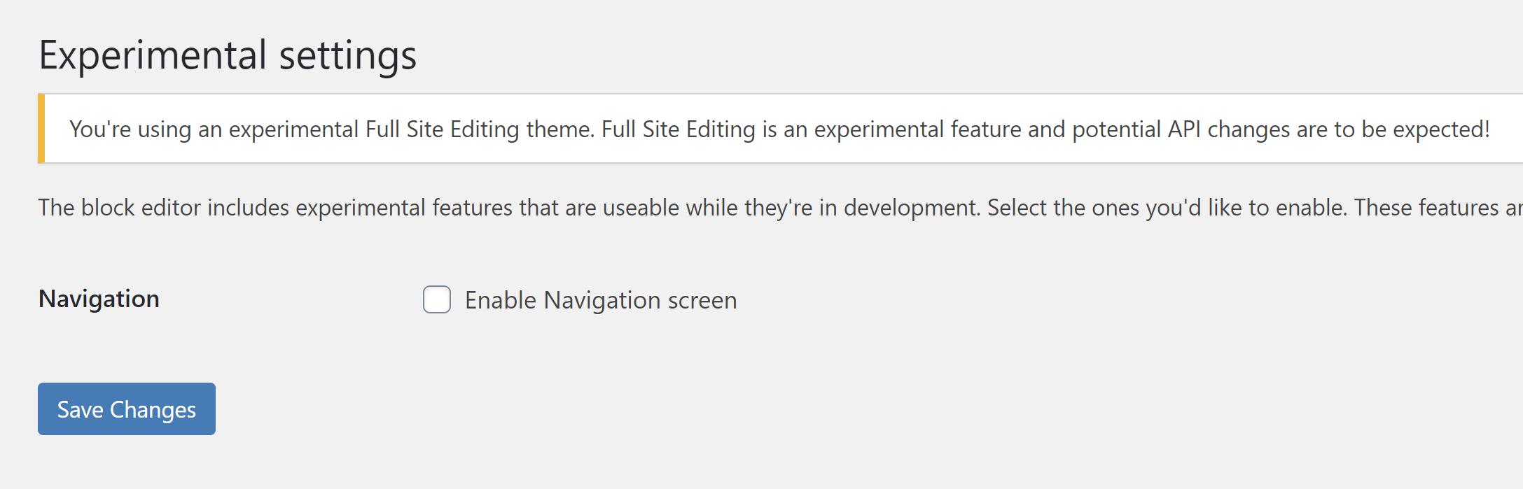 Avis donné sur l'écran des expériences de Gutenberg indiquant que l'utilisateur est sur un thème FSE.