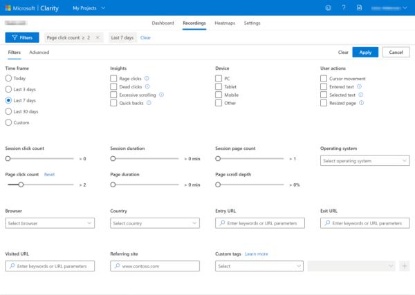 filtres dans la clarté Microsoft