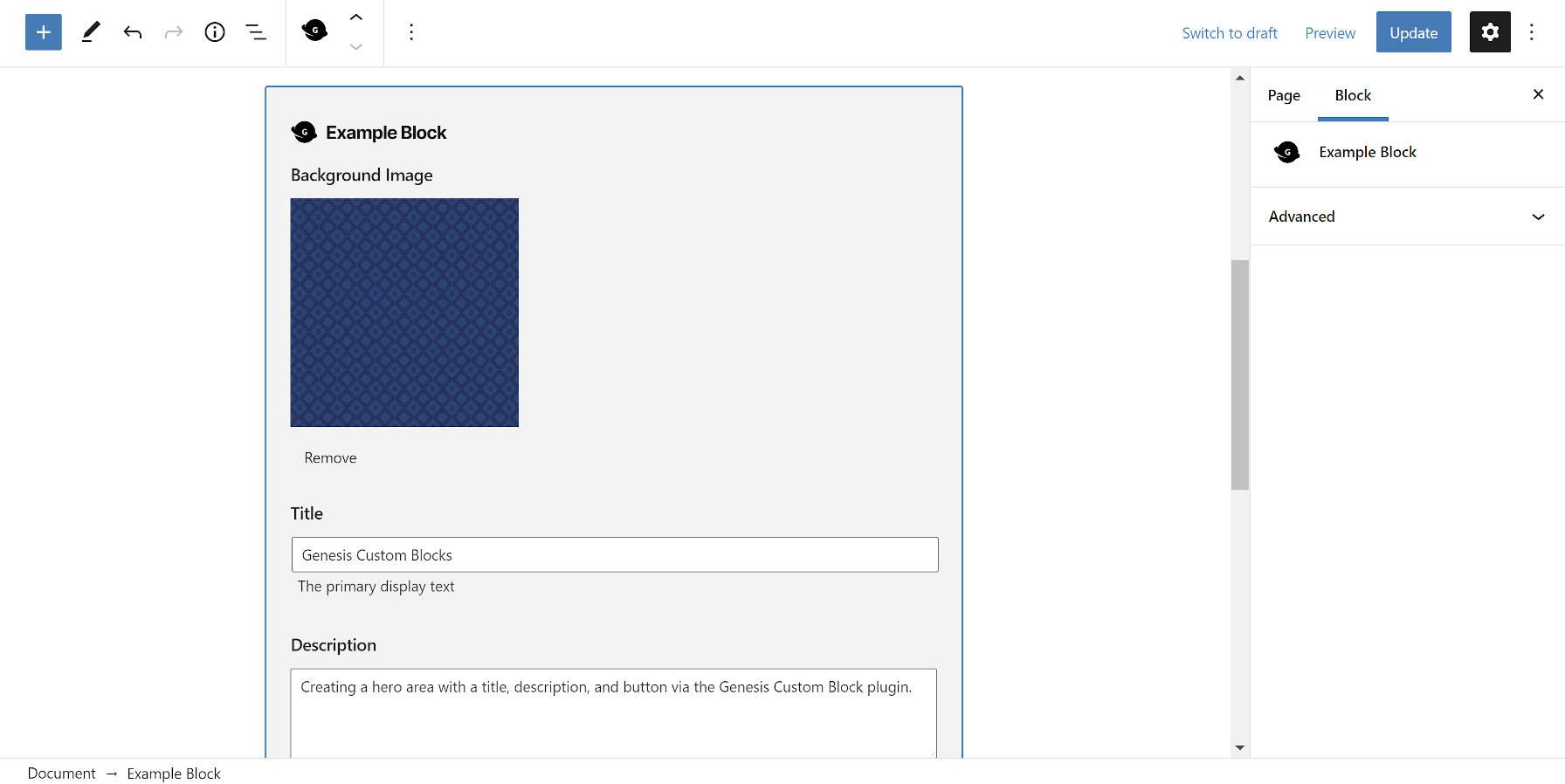 Modification d'un bloc de Genesis Custom Blocks dans l'éditeur WordPress.