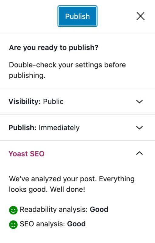 l'étape 7 de la liste de contrôle de cet article de blog consiste à cliquer sur publier où vous obtiendrez une dernière vérification avant la publication