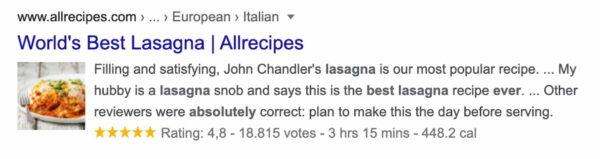 un exemple de résultat riche montrant une recette de lasagne