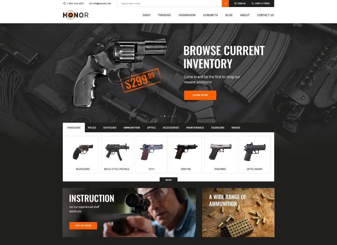Honneur |  Thème WordPress pour Shooting Club & Weapon Store