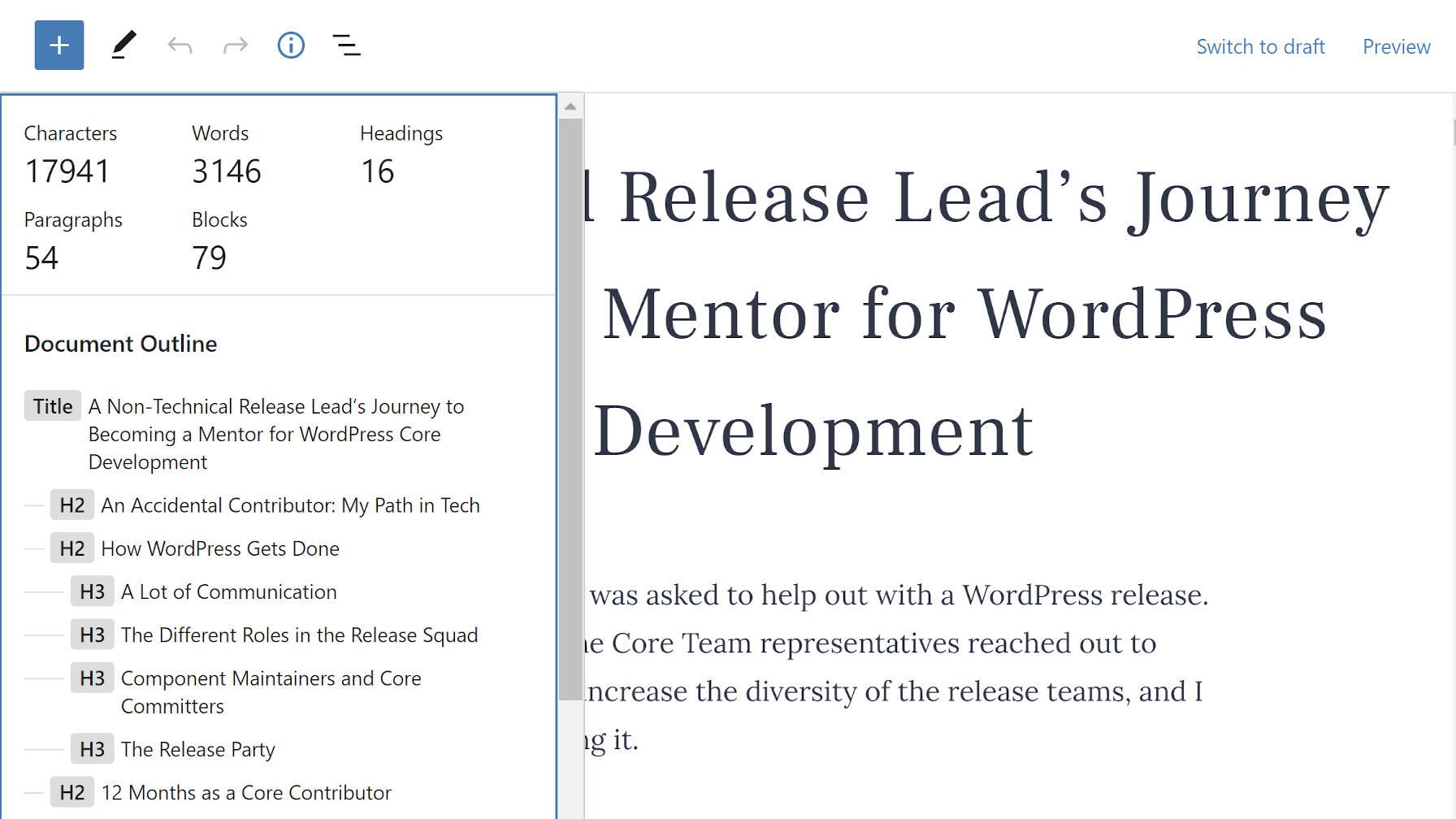 Liste déroulante des détails dans l'éditeur de blocs WordPress.