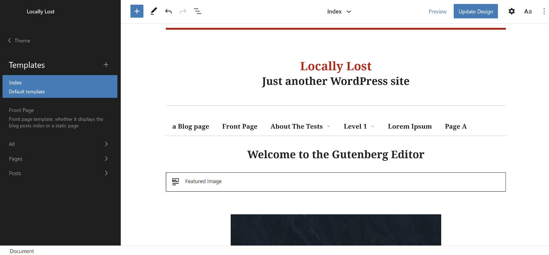 Thème WordPress Bosco basé sur des blocs dans l'éditeur de site.