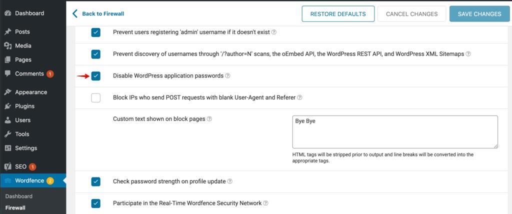 Paramètres de Wordfence pour désactiver les mots de passe d'application