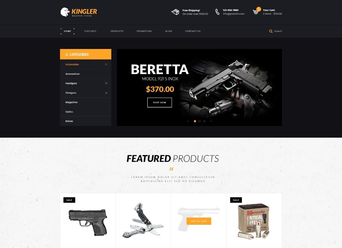 Kingler |  Thème WordPress pour magasin d'armes et formation d'armes à feu