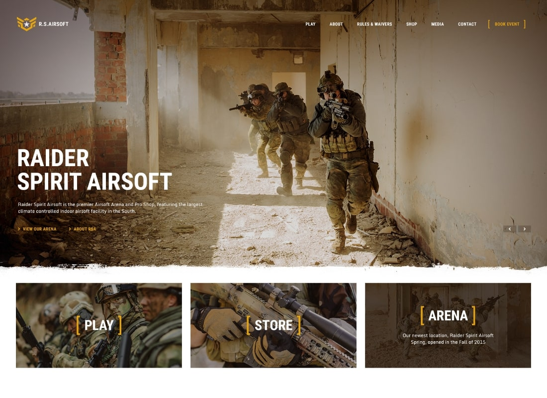 Esprit du raider | Thème WordPress Airsoft Club & Paintball