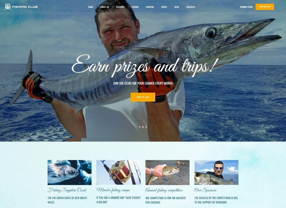 Club de pêche |  Thème WordPress Hobby Club de pêche et de chasse