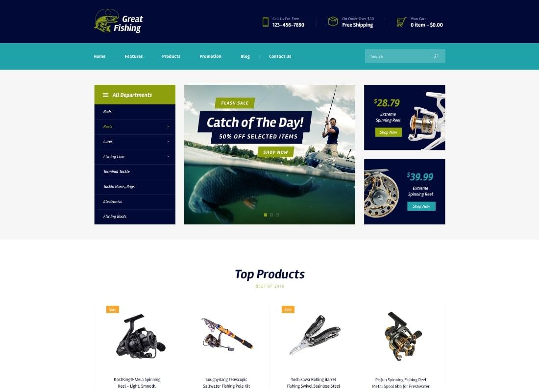 Grande pêche |  Thème WordPress pour les loisirs de pêche et de chasse