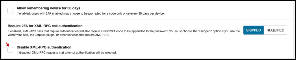 """Un écran montrant le """"Désactiver XML-RPC"""" configuration dans Wordfence Login Security"""