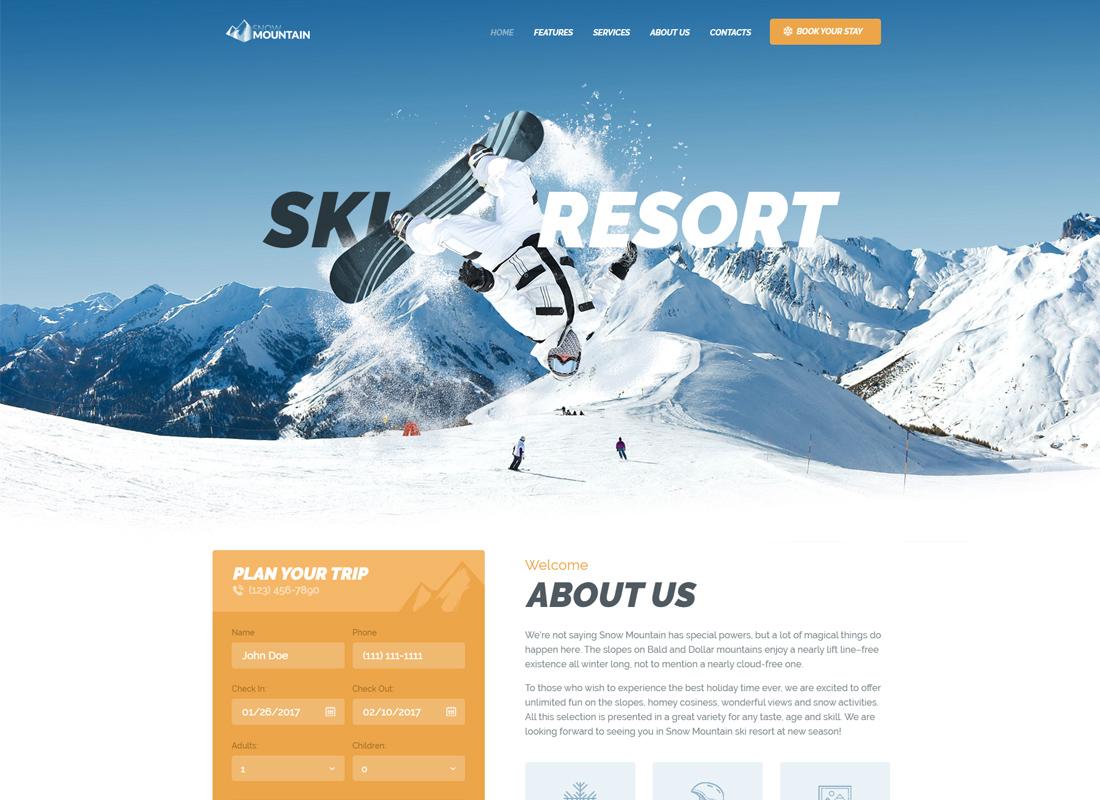Snow Mountain - Thème WordPress pour station de ski et école de snowboard