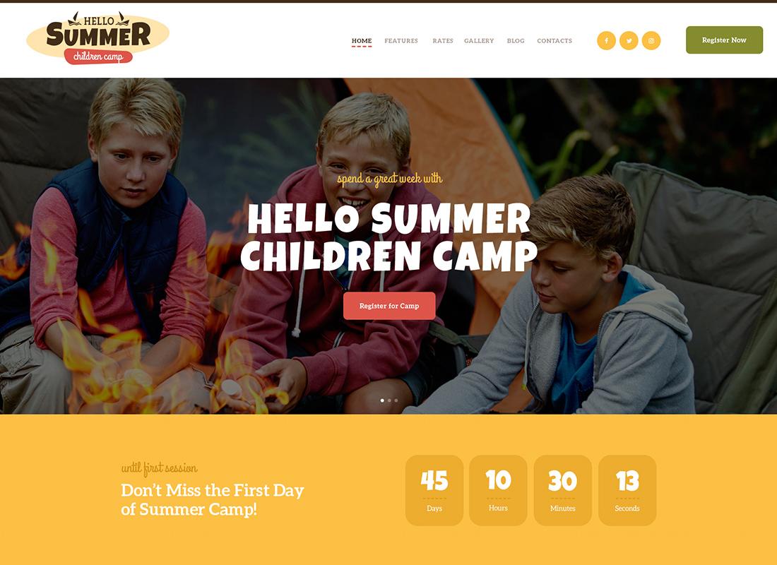 Bonjour l'été - Un thème WordPress pour un camp pour enfants