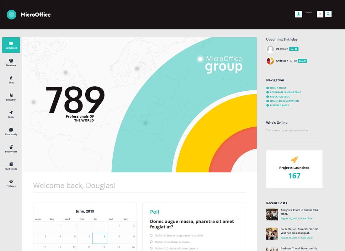 Micro Office | Thème WordPress pour extranet et intranet