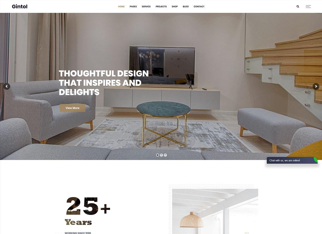 Gintol | Thème WordPress pour l'intérieur et l'architecture