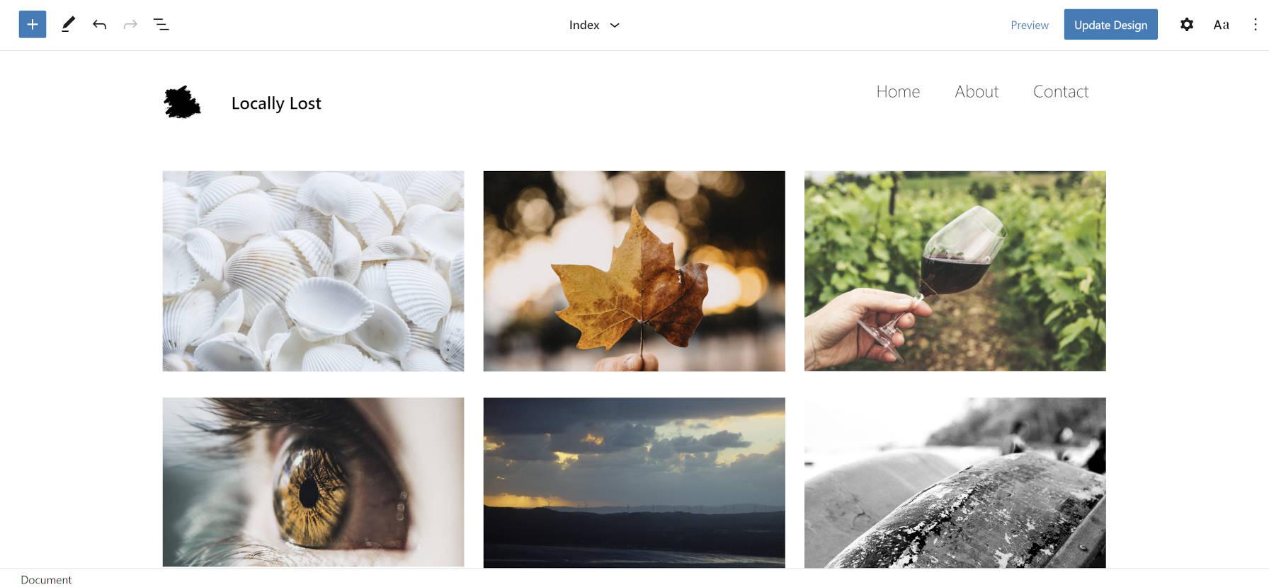 Thème des blocs photo dans l'éditeur de site.