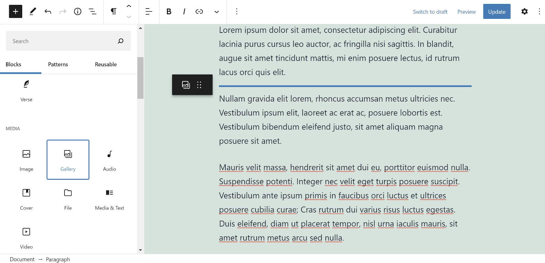 Faites glisser un bloc Galerie dans le canevas de contenu dans l'éditeur de blocs WordPress.