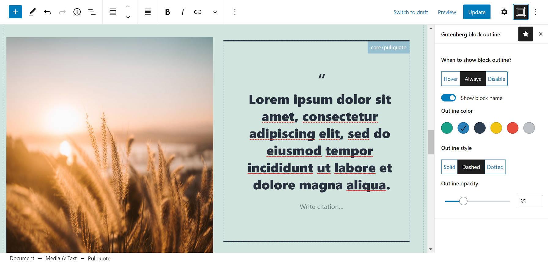 Plug-in Editor Block Outline dans la barre latérale de l'éditeur de blocs.