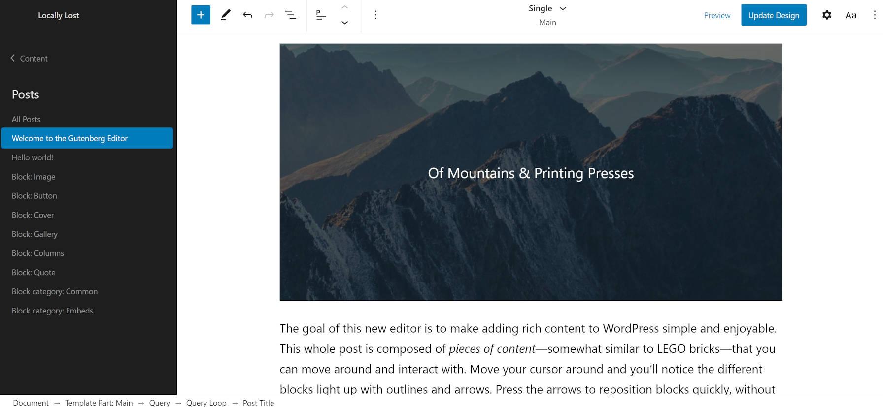 Affichage de l'article unique dans l'éditeur du site du thème WordPress Armando.