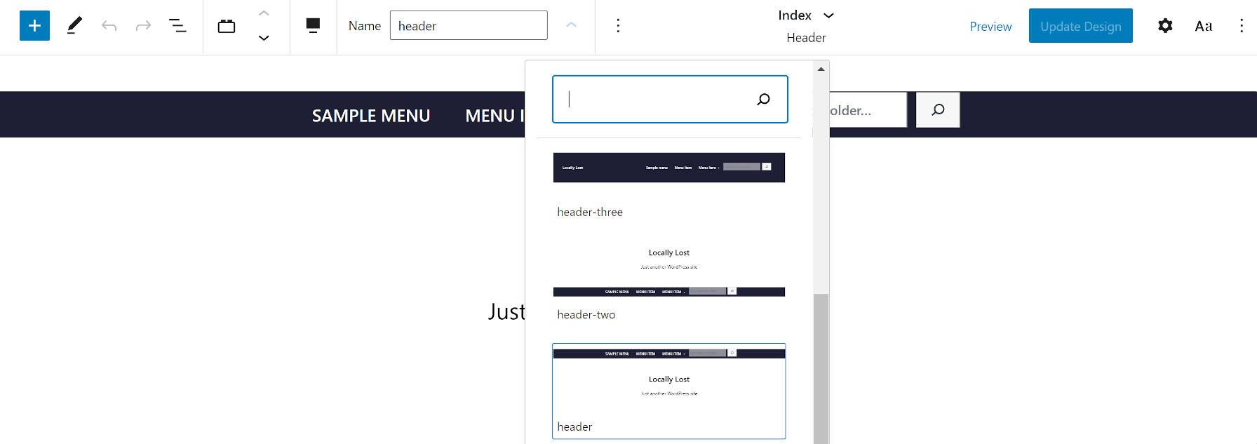 Sélection de modèle d'en-tête de thème WordPress Armando.