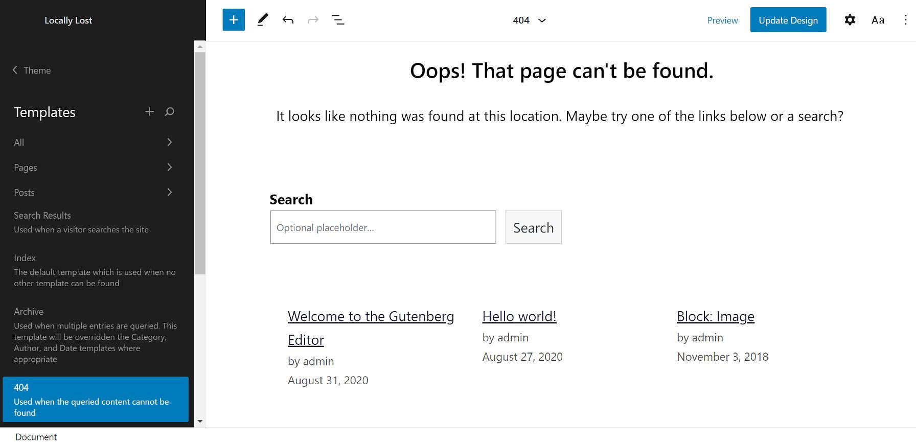 404 de l'éditeur de site WordPress lors de l'utilisation du thème Armando.