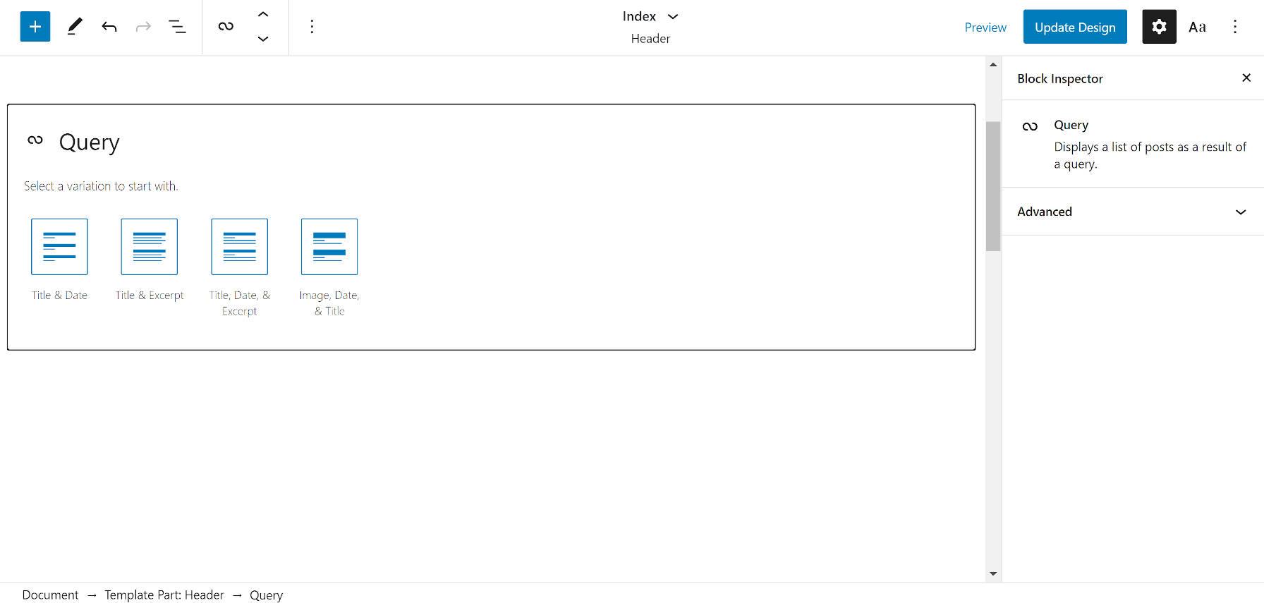 Variations du bloc de requête initiale dans l'éditeur WordPress.