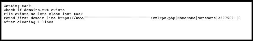 Un fichier journal affichant une tentative xmlrpc avec NoneNone comme nom d'utilisateur et mot de passe
