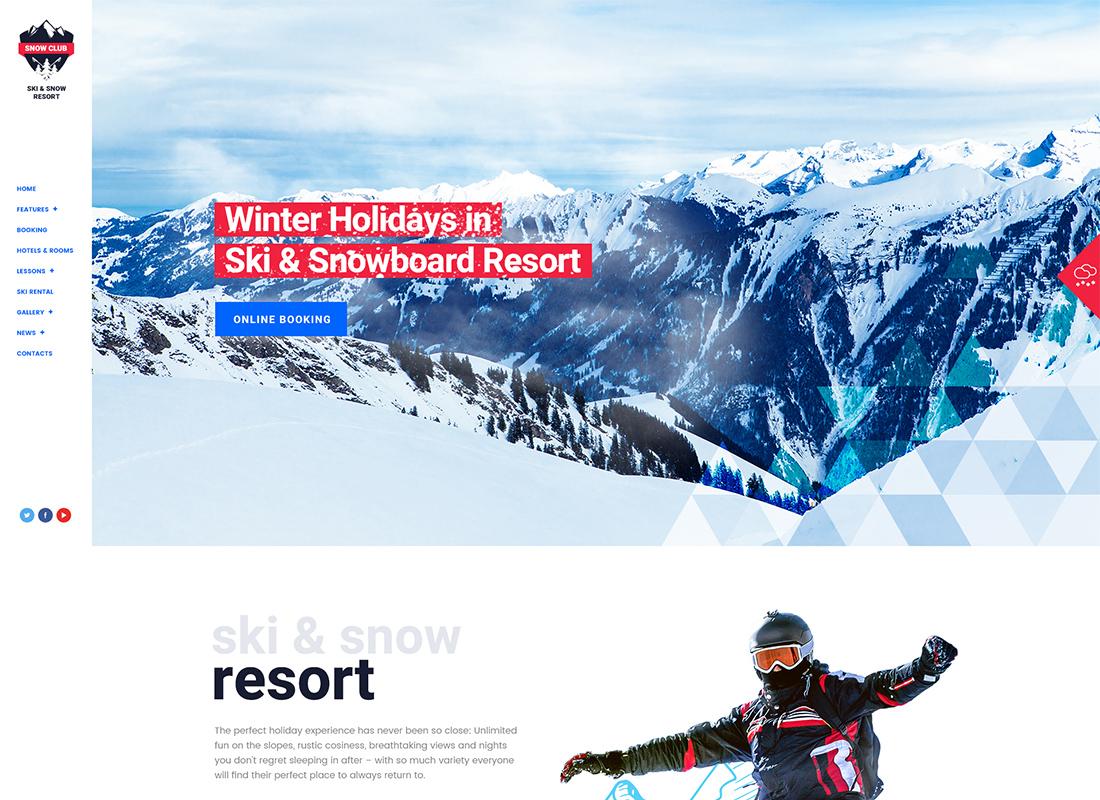 Snow Club - Thème WordPress pour les cours de ski et de snowboard