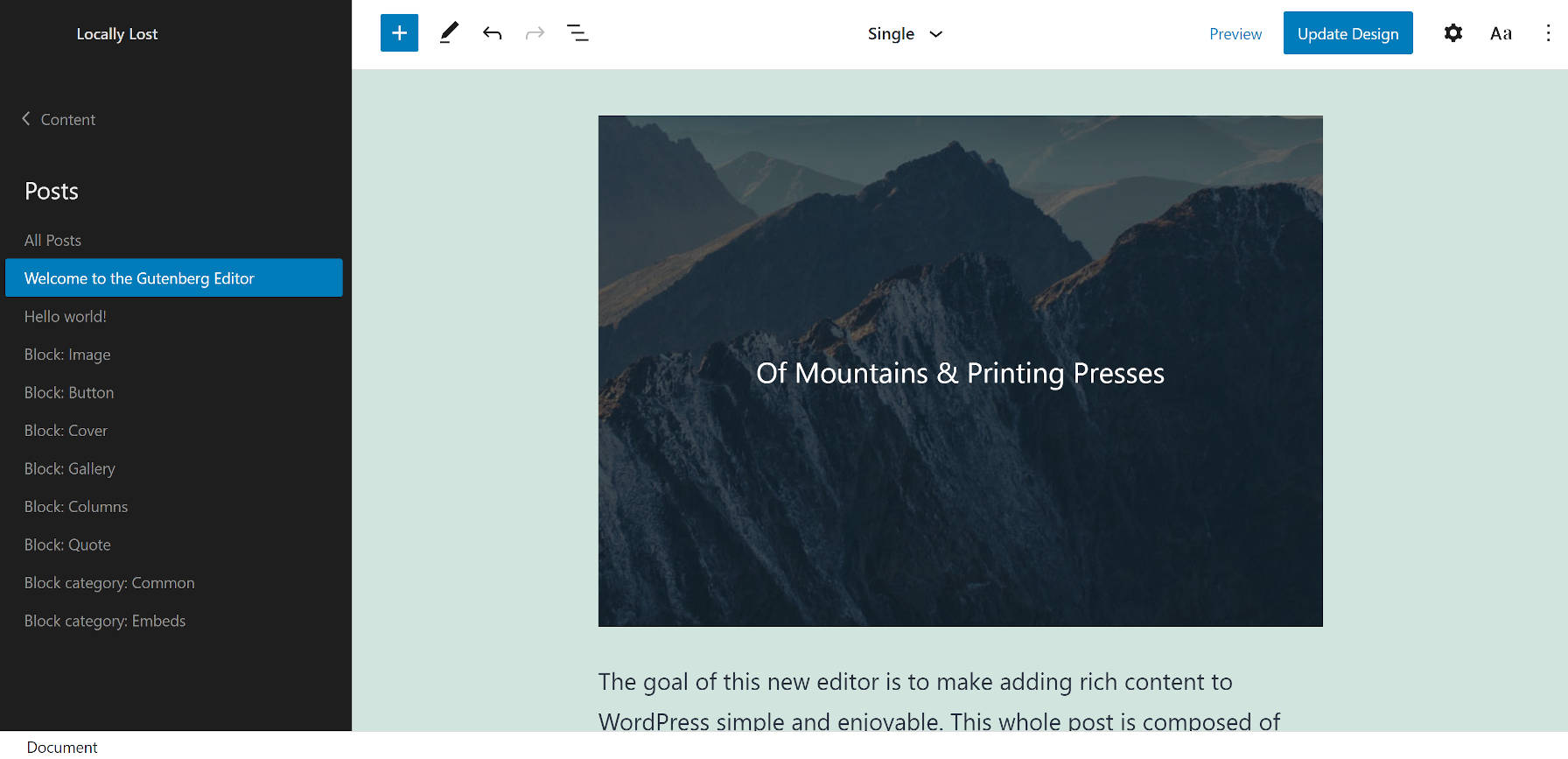 Affichage d'un seul modèle de publication dans l'éditeur de site WordPress tout en utilisant le thème TT1 Blocks.