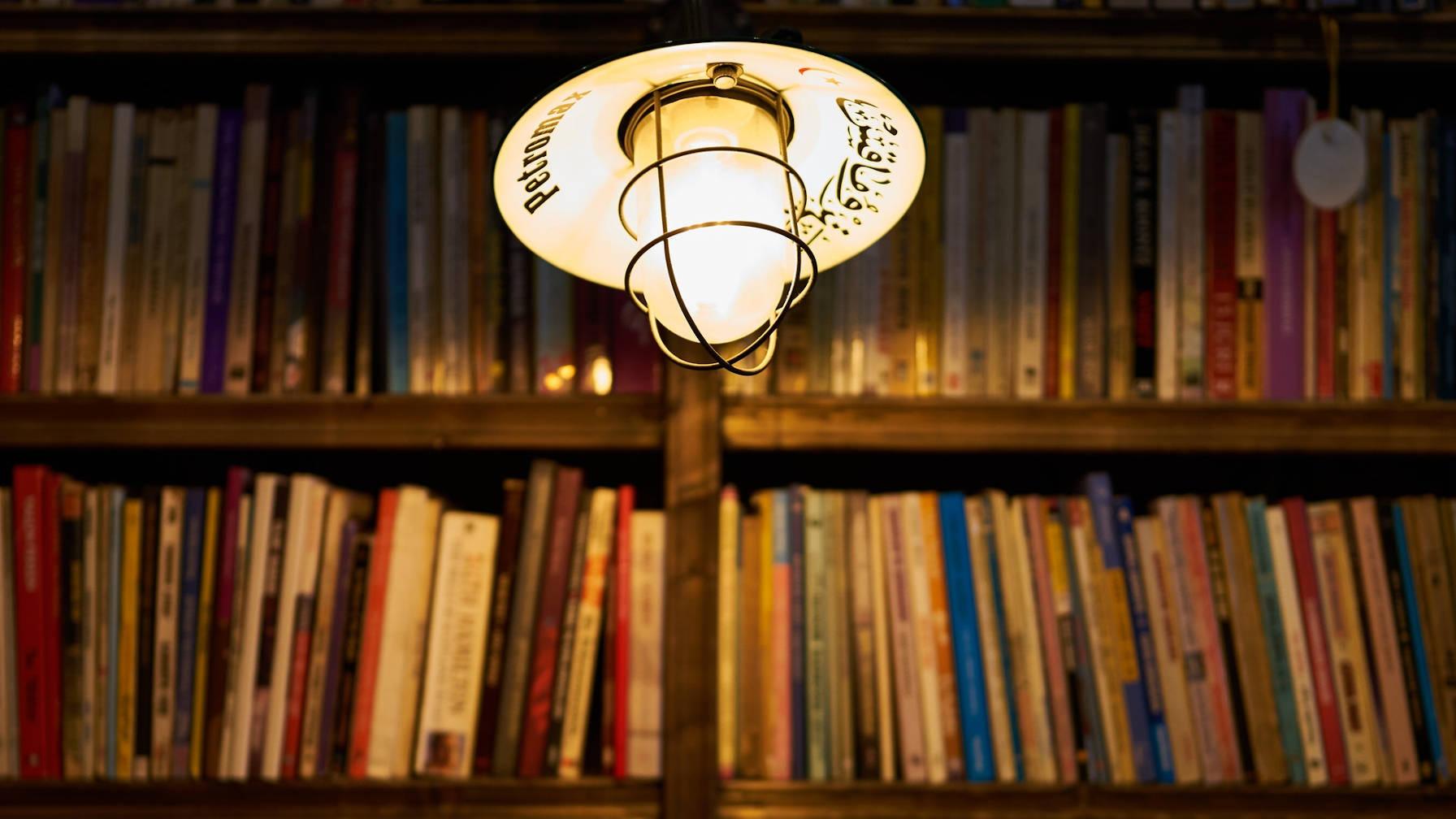 Des étagères remplies de livres avec une suspension devant, les éclairant.