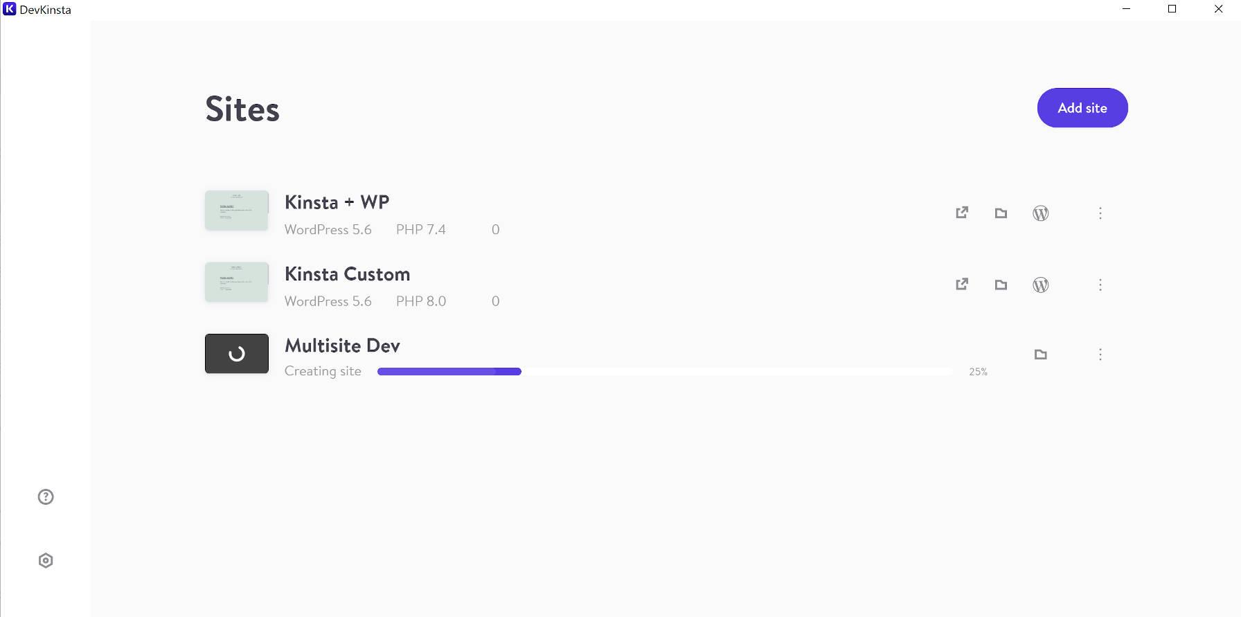 L'écran de gestion de site de DevKinsta, qui répertorie tous les sites et dispose d'un bouton pour ajouter un nouveau site.