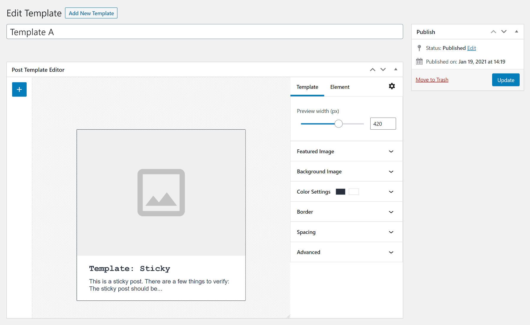 Écran d'édition de modèle à partir du plugin WordPress de mises en page personnalisées.