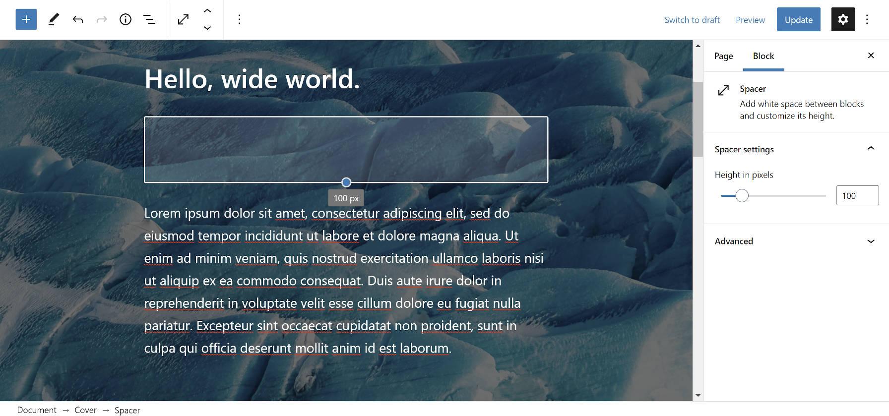 Utilisation du bloc Spacer, qui a maintenant une couleur semi-transparente, dans un bloc Cover dans l'éditeur WordPress.