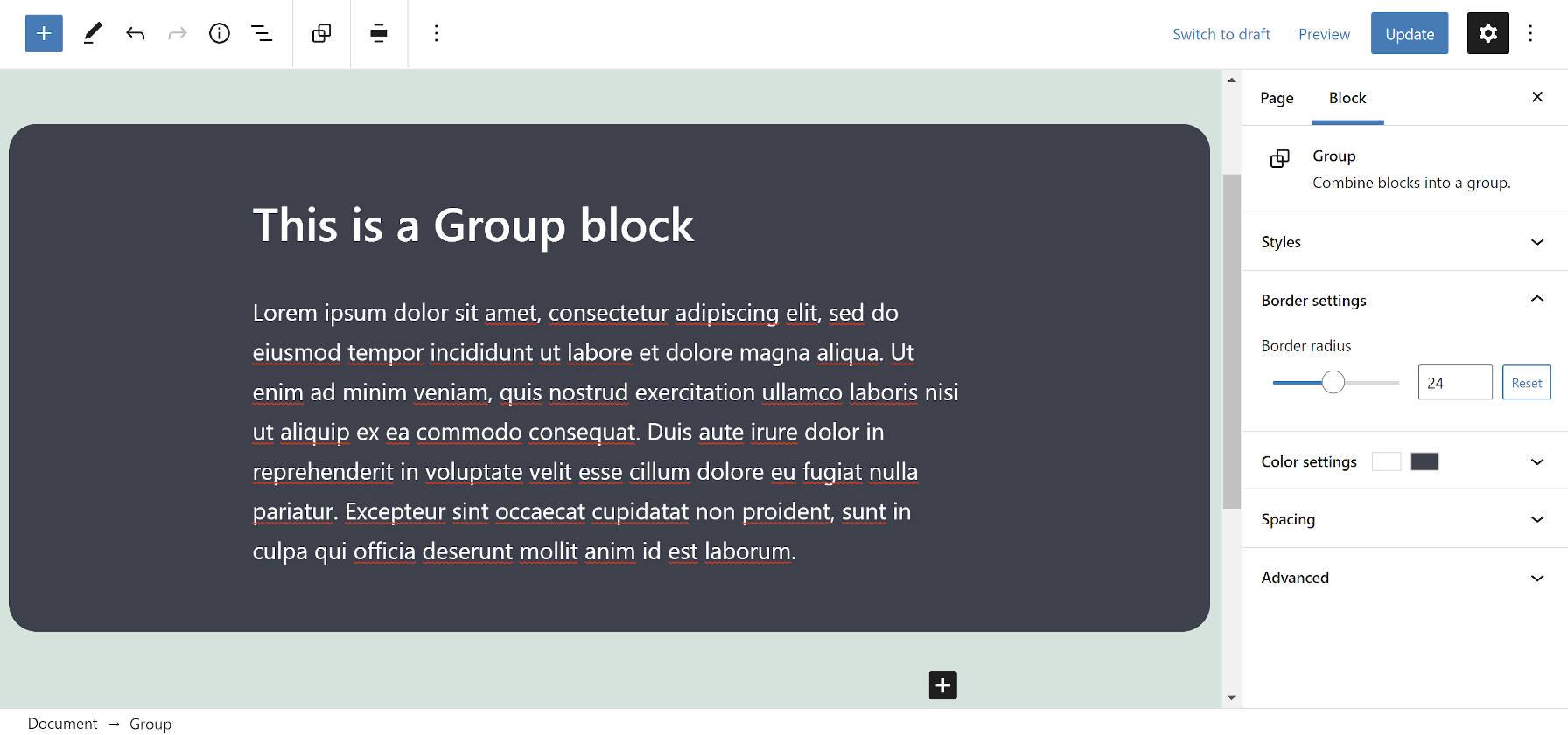 Bloc de groupe dans l'éditeur avec des bordures arrondies.