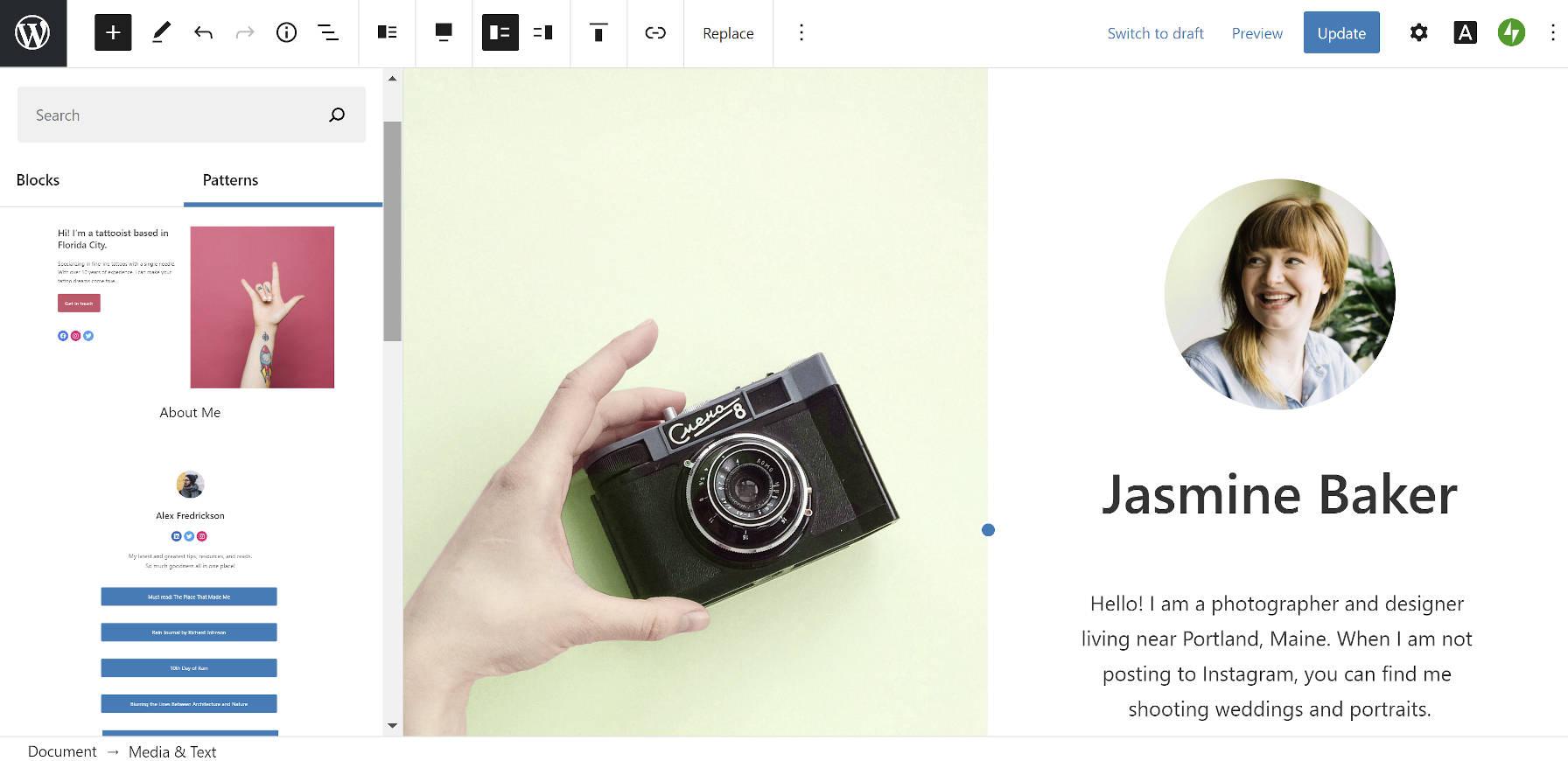Motif d'écran partagé dans le thème WordPress Blank Canvas.