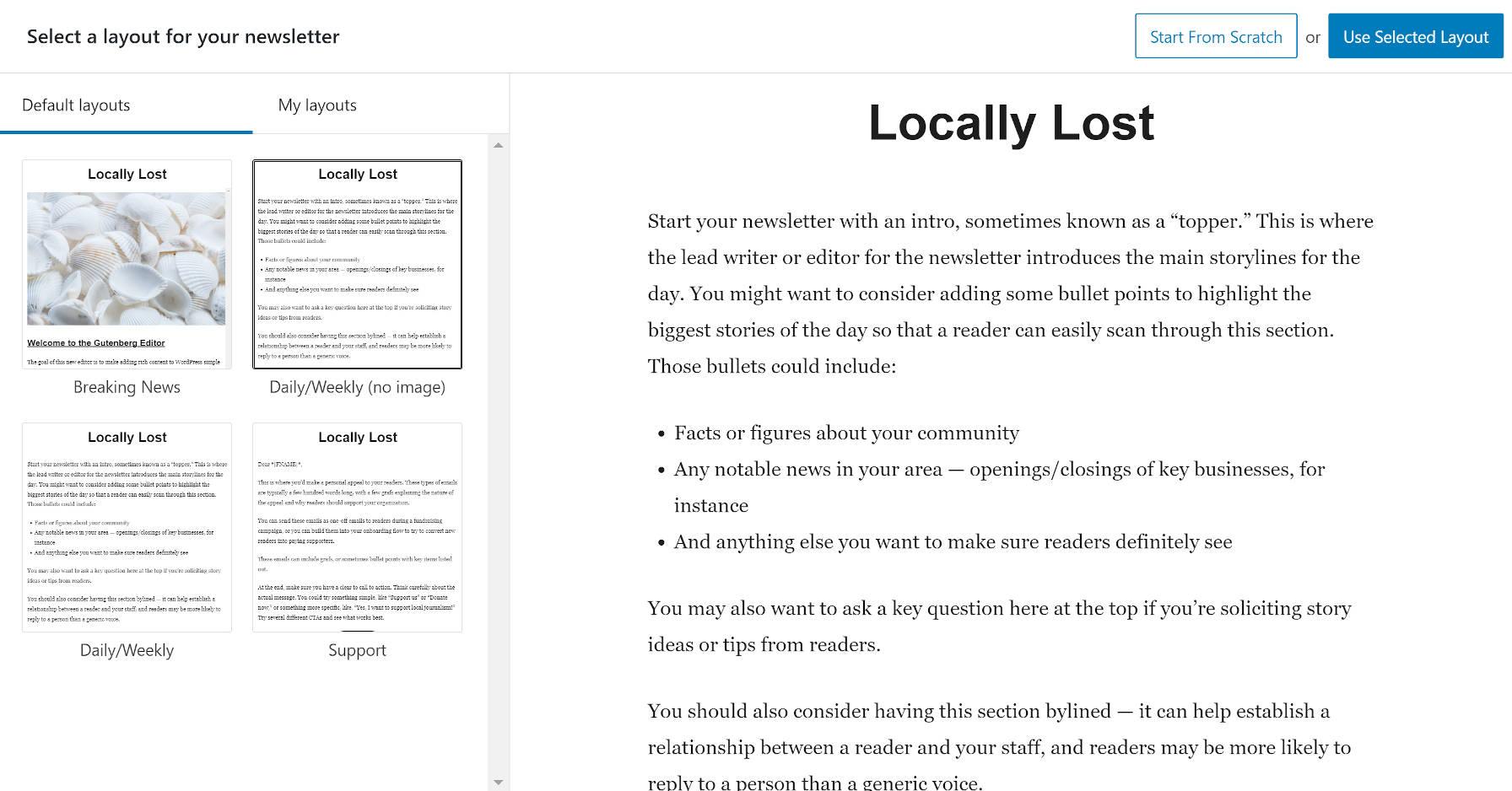 La sélection d'une mise en page à partir des Newspack Newsletters ajoute un nouvel écran.