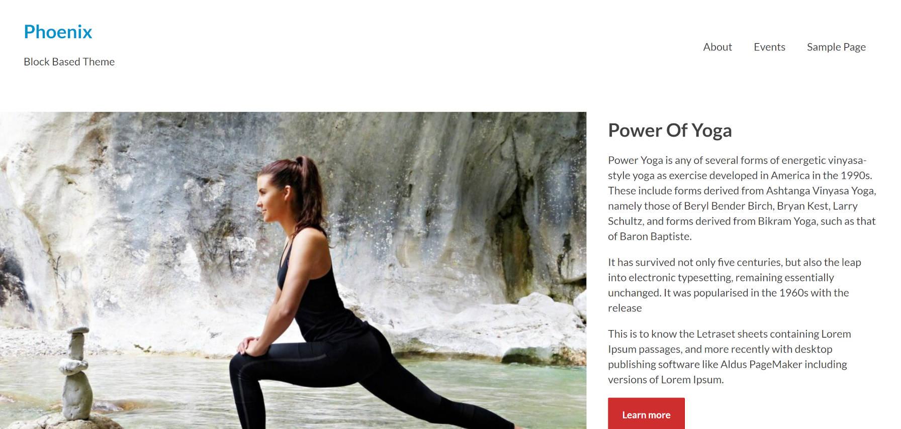 Zone d'en-tête du thème WordPress Phoenix sur la page d'accueil. Comprend une zone de héros avec une image à côté du texte.