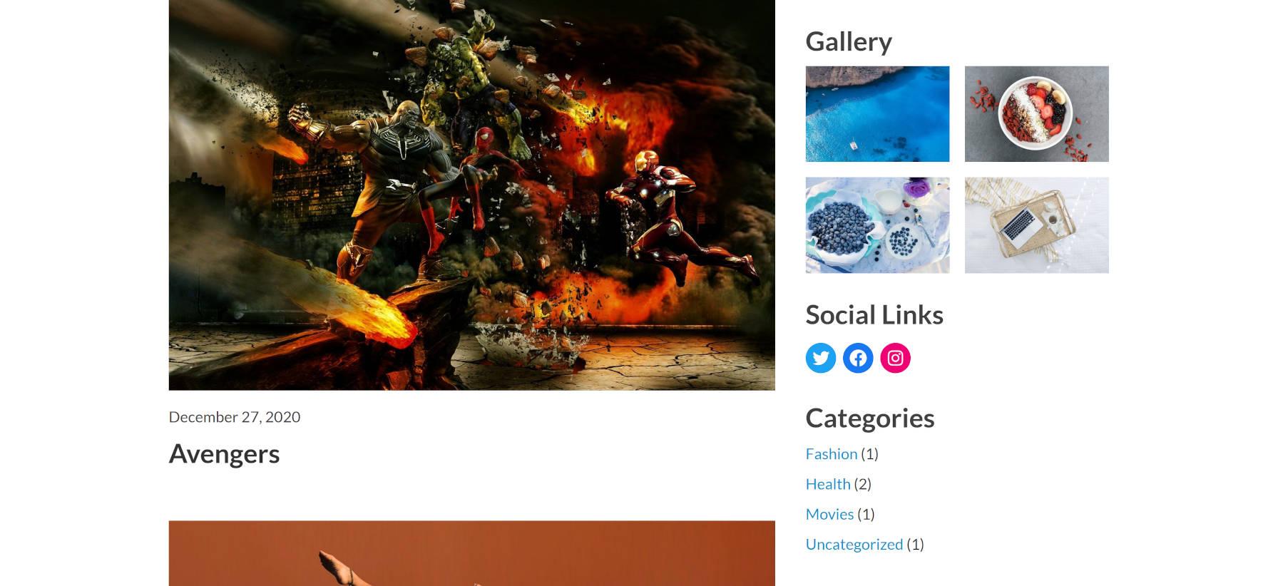 Zone de contenu à côté de la barre latérale dans le thème WordPress Phoenix.