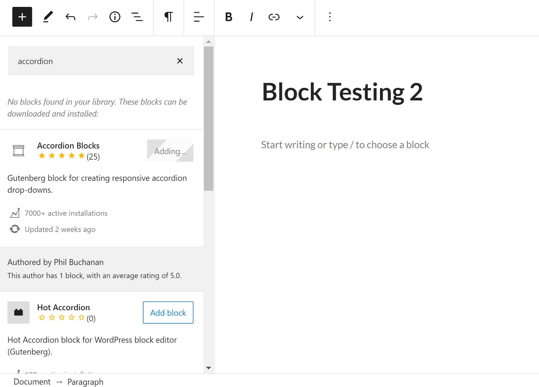 Recherche et installation d'un bloc à usage unique directement depuis l'éditeur WordPress.