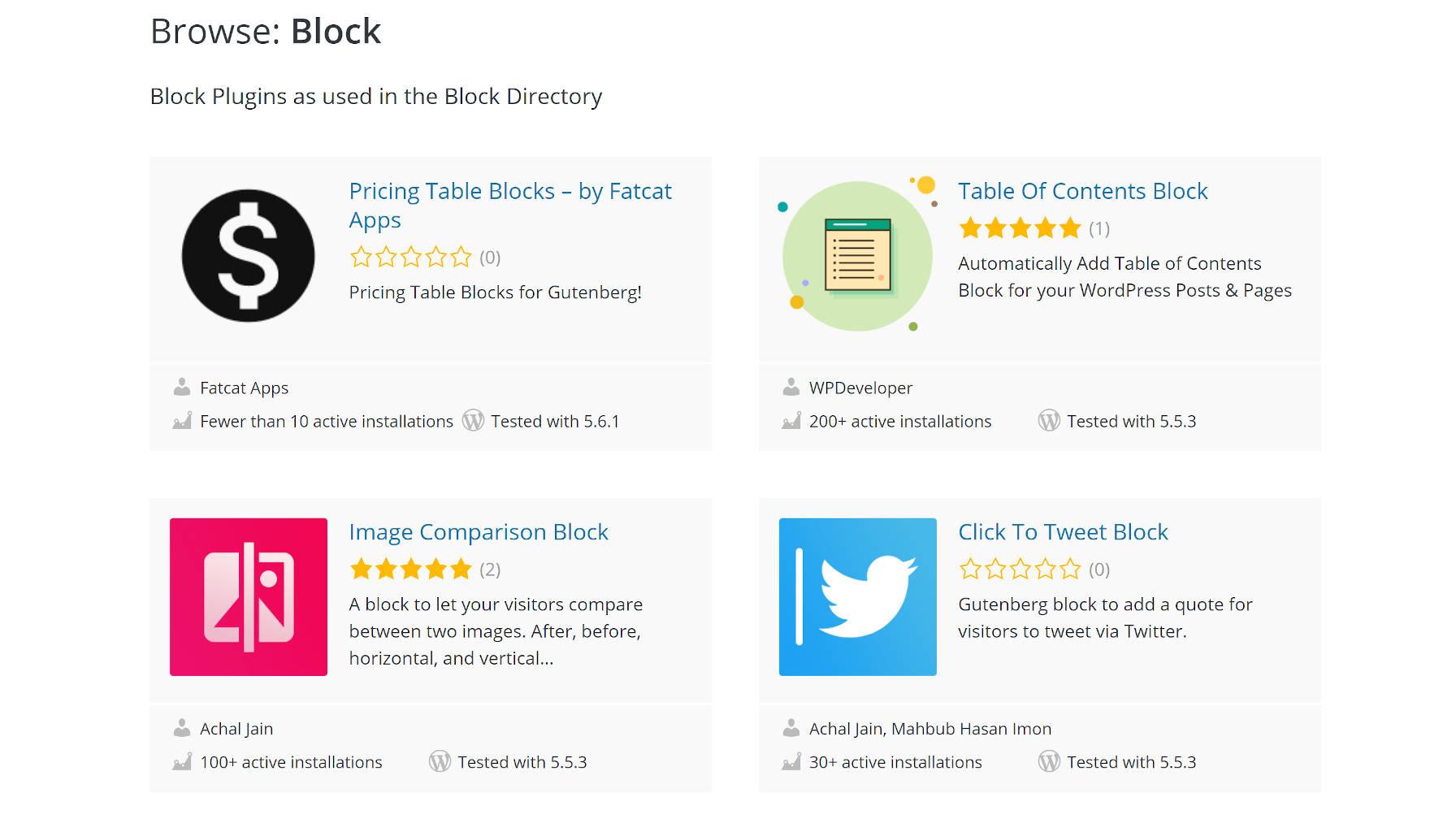 Capture d'écran du répertoire de blocs WordPress.org.