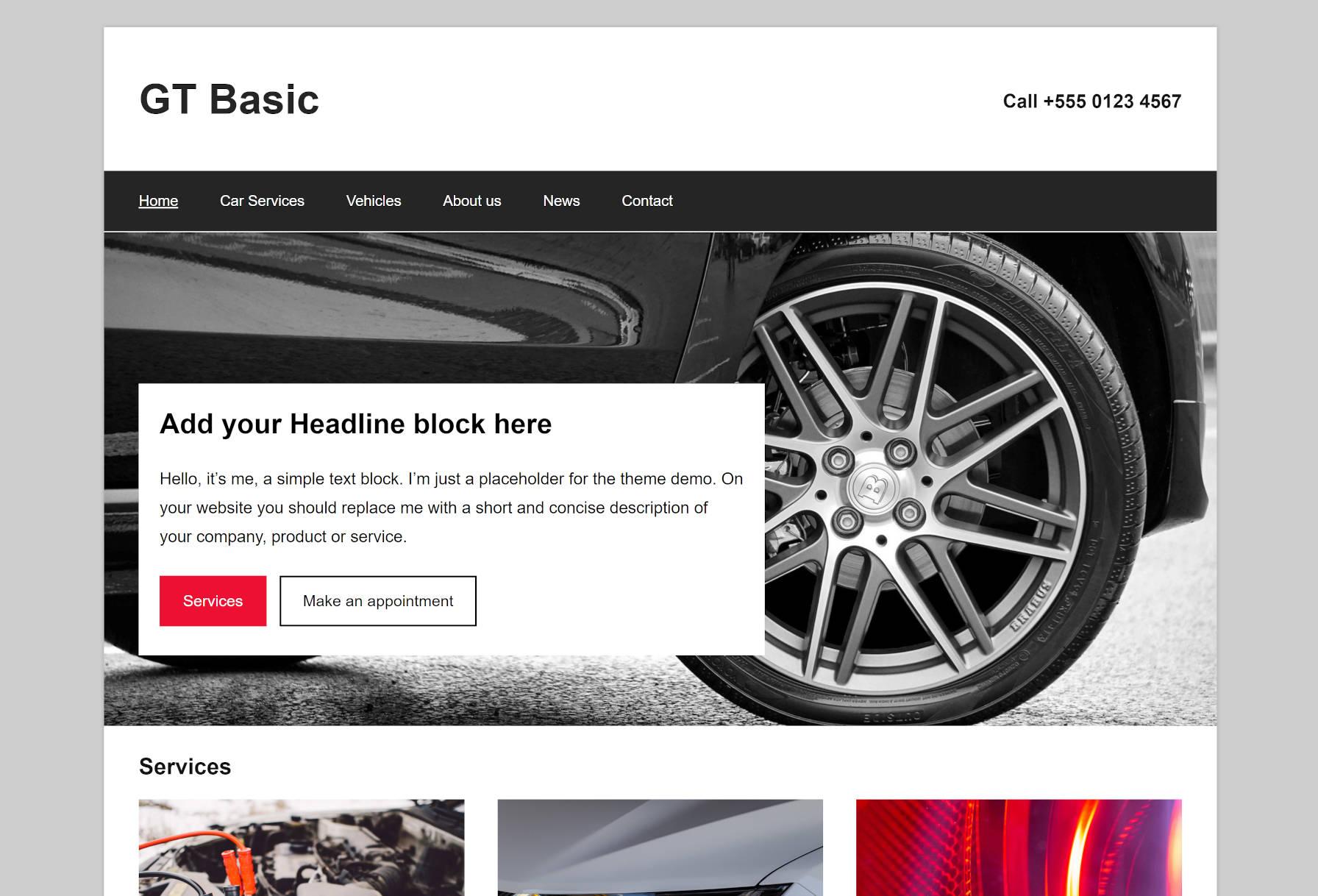 Capture d'écran de la conception de la première page du thème WordPress GT Basic.
