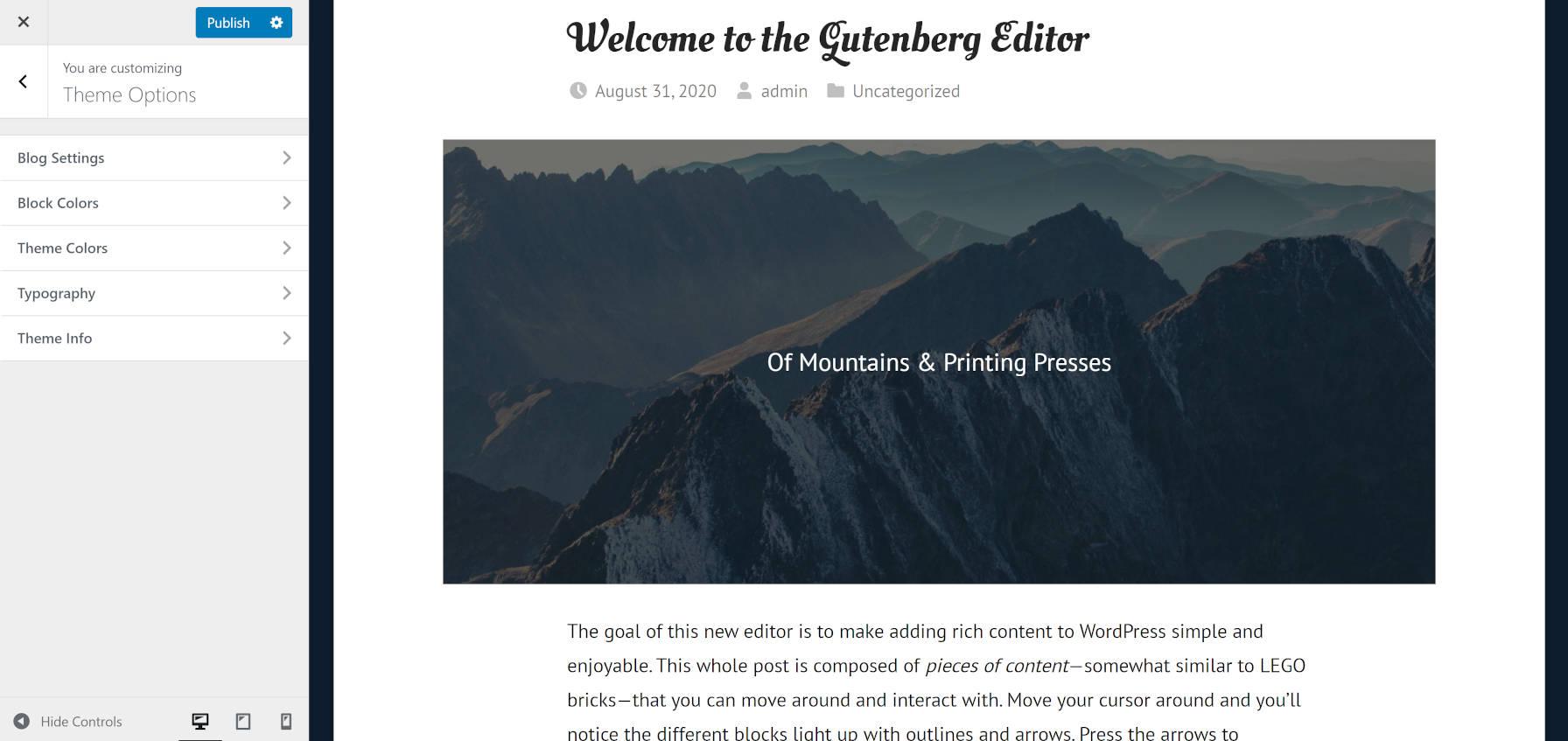 Typographie et personnalisations des couleurs du thème WordPress GT Basic via le personnalisateur.