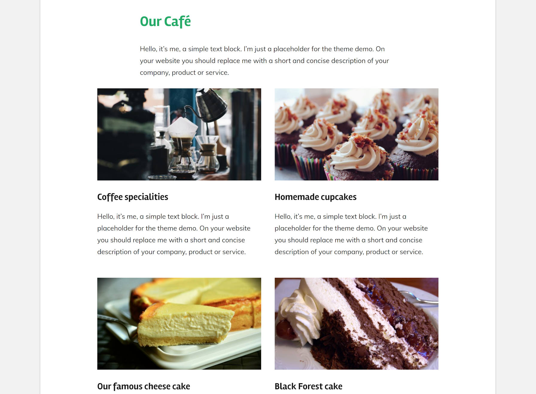 Démo de café montrant les éléments du menu alimentaire du thème GT Basic.