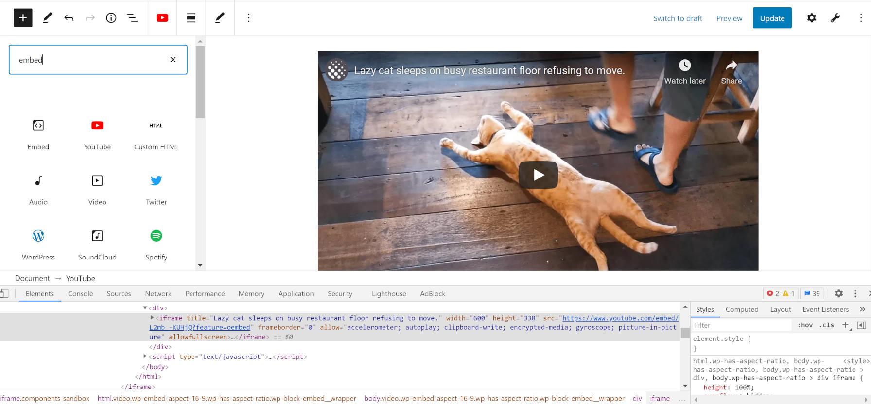 Affichage du code source d'une vidéo YouTube intégrée dans l'éditeur de blocs.