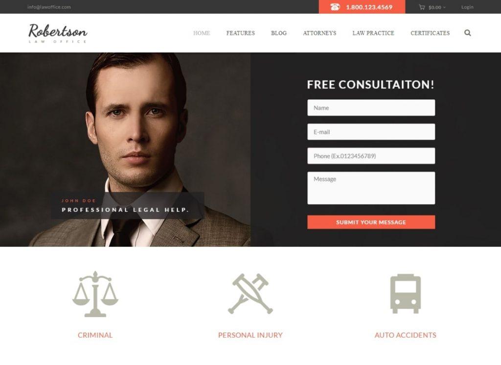 Cabinet d'avocats    Thème WordPress pour avocat et conseiller juridique + RTL